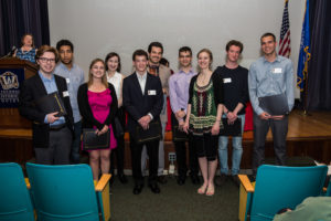 (from left to right) John Rizner, Islam Aly, Natalie Tupper, Anna Piecuch, Thomas Rademacher, Joseph Camp, Sam Hurwitz, Sara King, Sam Gee, & Alex Brauer