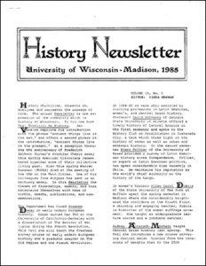 History Newsletter 1985